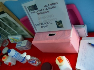 Donation box at an ear acupuncture project in the border region...